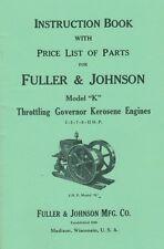 Fuller Amp Johnson Model K Throttle Governor Kerosene Engine Book Motor Flywheel