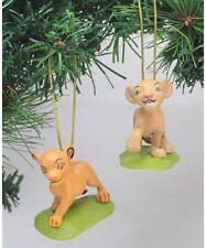 """Disney Lion King Simba & Nala 2 pc Christmas Holiday Ornament PVC Figure 3"""" New"""