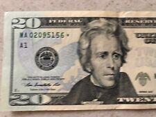 2013 $20 TWENTY DOLLAR BILL STAR ✯ NOTE BOSTON Federal Reserve MA 02095156 ✯