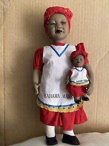 "Lot 2 Jointed Brown Black Porcelain 12"" BAHAMA MAMA & BABY Souvenir Doll 4.5"""