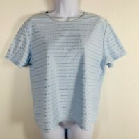 Sag Harbor Womens Top Sz L Powder Blue Short Sleeve Round Neck Cotton Y58