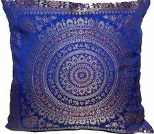 "Royal Blue Indian Ethnic Mandala Silk Brocade Cushion Covers Handmade 15"" Zip"