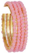 Indian Bangles Jewelry Fashion Beautiful Pink Pearl Jewelry Bangles Bracelets 4p