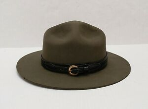 STRATTON SELF FORMING GREEN FELT CAMPAIGN HAT RANGER/MILITARY/POLICE SIZE: 6 7/8