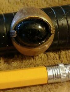 vintage sterling silver onyx ring estate sz 9.5