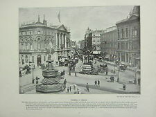 1896 VICTORIAN LONDON PRINT + TEXT ~ PICCADILLY CIRCUS