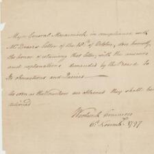 Nova Scotia Lt Gov William Macarmick signed letter 1797 re answering questions