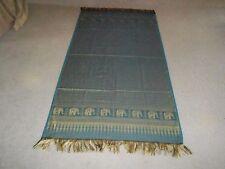Asian Mideast Style Table Cloth Runner Scarf Blue & Gold Silk 39.5x79 Elephant