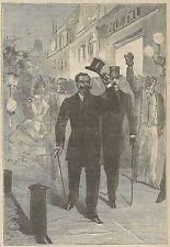 A3446 Vittorio Emanuele per le vie di Milano_Incisione - Stampa Antica del 1892