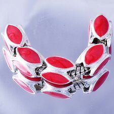 5Pcs Silver Charms beads dark pink Enamel wholesale charms For European Bracelet