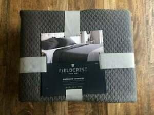Fieldcrest Matelasse Coverlet Quilt King Molten Lead led gray grey 100% cotton