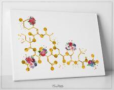 Oxytocin Molecule Floral Gold Watercolor Print Medical Art Love Molecule-1528