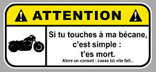 ATTENTION DANGER MOTO NE PAS TOUCHER HARLEY BIKER 12cm AUTOCOLLANT STICKER DA192