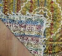 Vintage Tapestry Tablecloth Silk Brocade Fringed Throw Gold Made in Italy