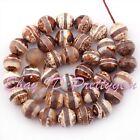 "10mm Faceted Round Ring Stripe Dzi Tibetan Agate Gemstone Beads Loose Strand 15"""