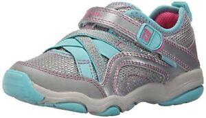 NIB Stride Rite Athletic Shoes  Serena M2P Aqua Blue Silver Pink 9.5 10 10.5 M