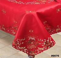 Holiday Christmas Tree Red Poinsettia Candle Tablecloth With Napkins RED 6676