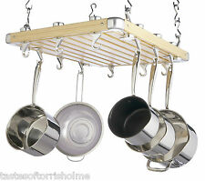 MASTER CLASS LARGE CEILING HANGING WOODEN POT SAUCEPAN PAN STORAGE RACK & HOOKS