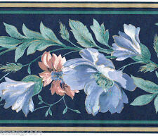 Blue Flower Peach Floral Green Leaf Vine Garland Silk Wall paper Border
