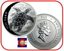 2011 Fiji Taku $2 Hawksbill Turtle 1oz Silver Coin in airtite