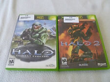 XBOX GAME LOT HALO 1 & 2 COMPLETE W CASE & MANUALS SET OF VIDEO GAMES COMBAT >>