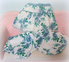 Ƹ̵̡Ӝ̵̨̄Ʒ Monsoon Rock + Höschen Tüll Blau Grün Weiß Blumen Gr 98 2-3 Ƹ̵̡Ӝ̵̨̄Ʒ