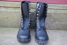 Vintage Blow Out Black Leather Boots Size 5.5 M Made in Usa