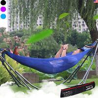 Portable Folding Hammock Camping Beach Lounge Sleeping Bed Metal Frame Carry Bag