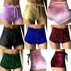 Fashion Women Winter Crushed Velvet High Waist Drawstring Shorts Pants Hot