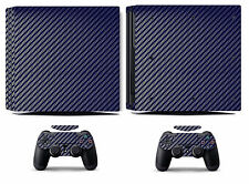 Blue Carbon Fiber Vinyl Skin Sticker Cover for Sony PS4 Pro PlayStation 4 Pro