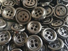 "50 THICK METAL BUTTONS FROM ITALY Gunmetal Finish 18mm 11/16"" 4hole"