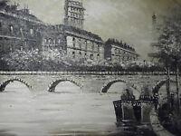 black white Paris large oil painting canvas French cityscape original Eiffel art