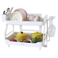 WHITE Smart Dish Rack Holder Set,2 Tier Dish Drainer,Stainless Steel 204+ABS