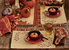 New listing Country Bittersweet Burlap Placemat Lined Cotton Fall Autumn Farmhouse Tabletop