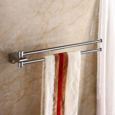 18'' Brass Swivel Double Towel Bar Hanger Shower Rail Storage Racks Wall Mounted