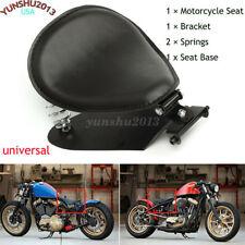 "Motorcycle Solo Driver Seat + 3"" Spring Bracket Base For Harley Bobber Chopper"