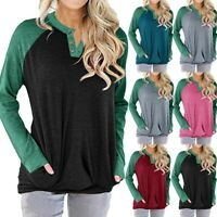 Women Casual V-Neck Contrast Color Long Sleeve Pockets T-Shirt Blouse Tops Shirt