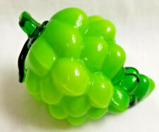 Vintage Art Glass Green Grapes Fruit Handmade 3.5""