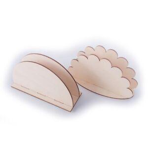 Wooden Napkin Serviette Holder Dispenser / Tissue Rack / Plain Wood to Decorate