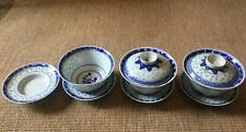 More details for vintage chinese bowl saucers and lid translucent blue and white