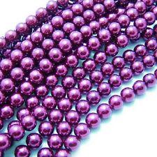 1 Strand 4mm Purple Pearl Glass Pearls 216 Beads