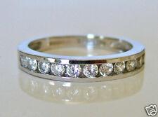 Beautiful 14ct White Gold Diamonique Half Eternity Ring Size i