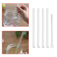 4x Clear Reusable Glass Water Drinking Straws with Brush Wedding Birthday Party
