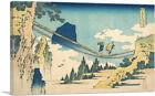Suspension Bridge on the Border Hida Etchu Canvas Art Print Katsushika Hokusai