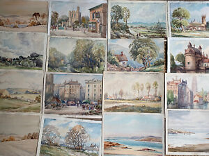 COLLECTION OF 28 VINTAGE WATERCOLOUR PAINTINGS - CIRCA 1930'S - LANDSCAPES ETC