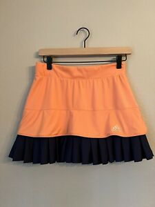 Women's Adidas Climalite Tennis Skirt Skort Orange Navy Balls Pockets Small S