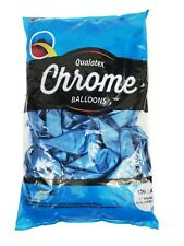 "Qualatex 11"" Round Chrome Blue Metallic 100pc Latex Balloon"