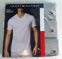 Tommy Hilfiger Men's V Neck T Shirts 3 Pack Large Grey TH Cotton Undershirts New