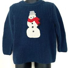Oshkosh B'gosh Sweater Kids Ribbed Knit Snowman Winter Blue Boys Girls Size 4T