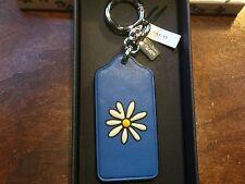 NWT IN BOX COACH LAPIS (BLUE) FLOWER HANGTAG KEYCHAIN/KEYRING/CHARM #58858B